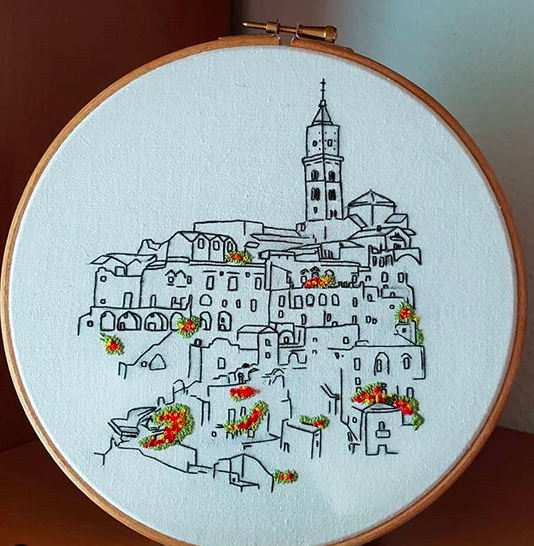 Student work on Sassi di Matera pattern by Charles and Elin