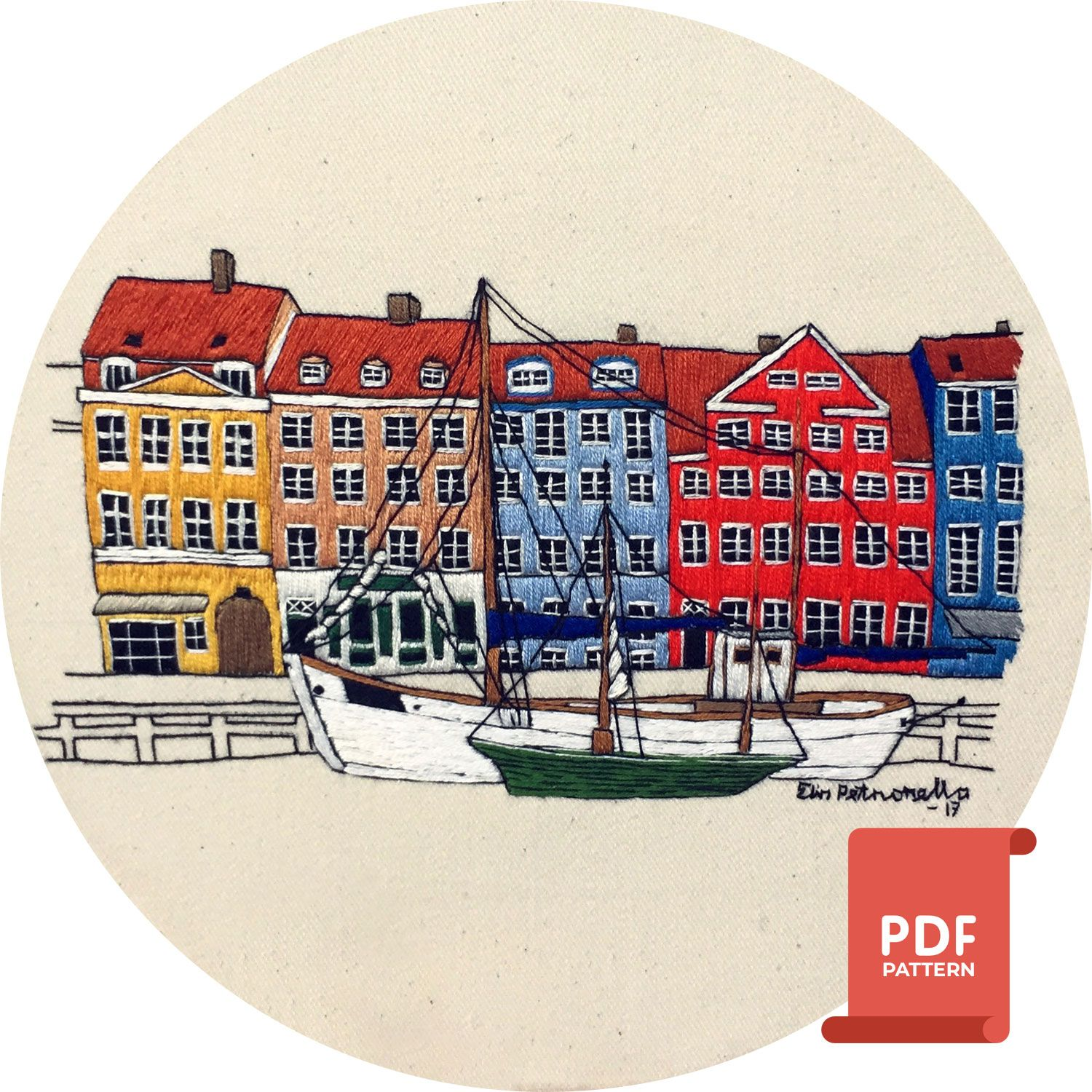 Threadpainting design of Nyhavn, Copenhagen (pdf)