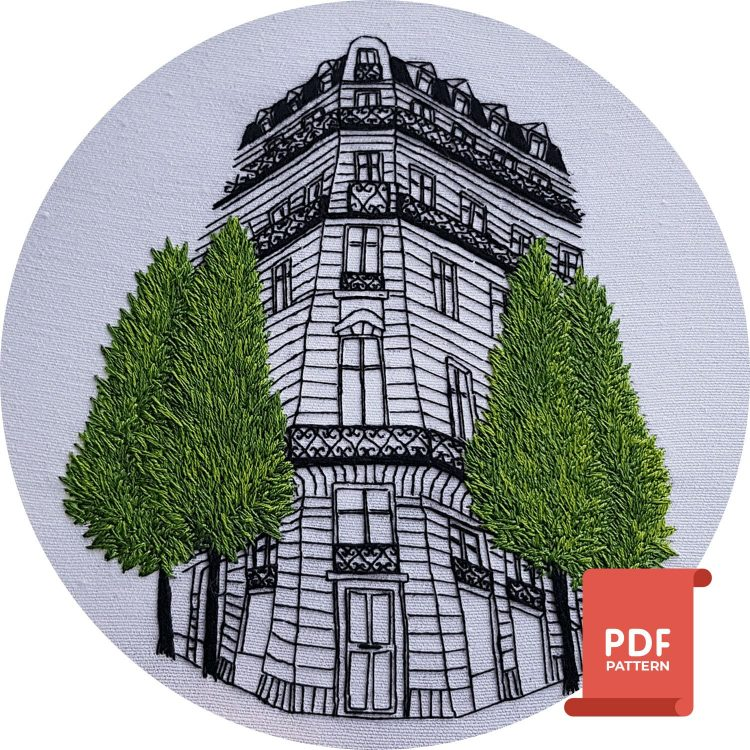Paris embroidery pattern by Charles and Elin