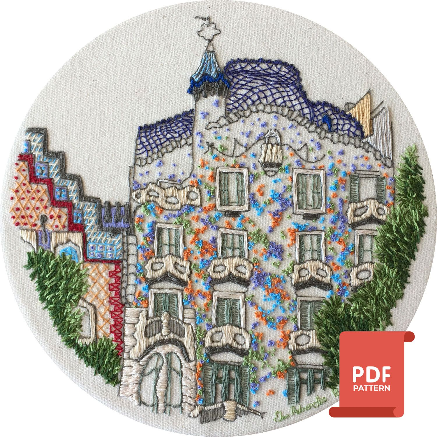 Casa Batllo French Knot embroidery design