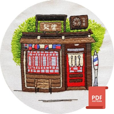 Japan inspired embroidery pattern