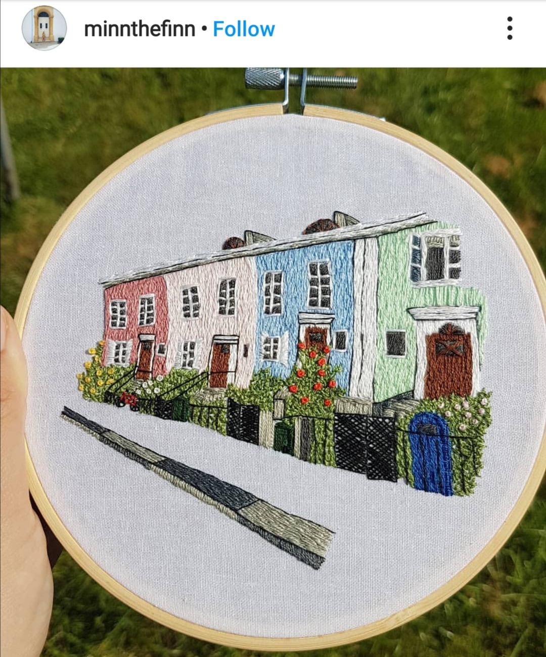 Embroidered Göteborg pattern by student of Charles and Elin