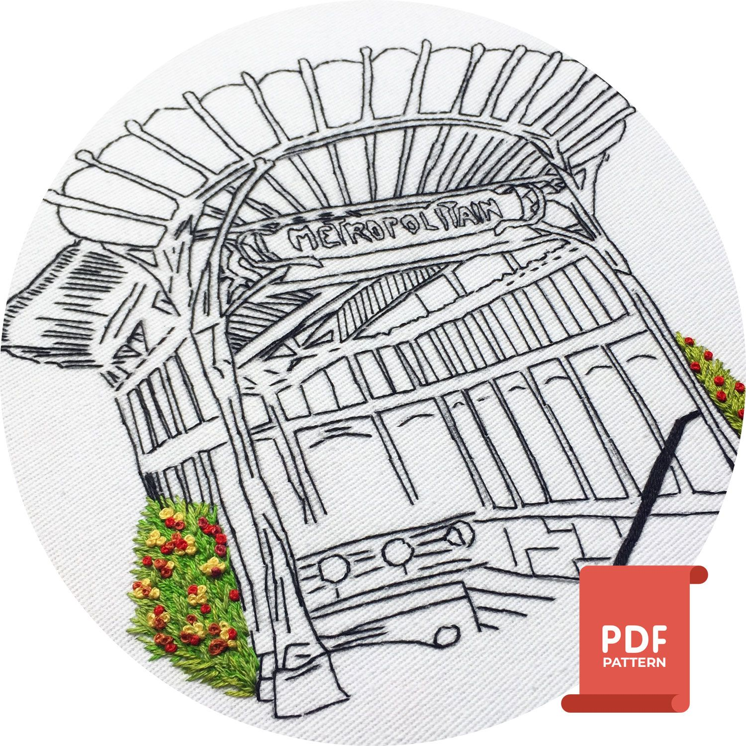 Metropolitan paris embroidery pattern