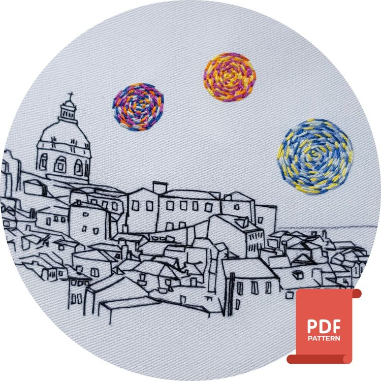 Lisbon hand embroidery pattern