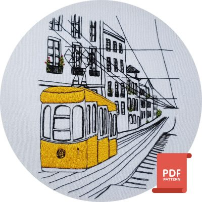 hand embroider the lisbon tram