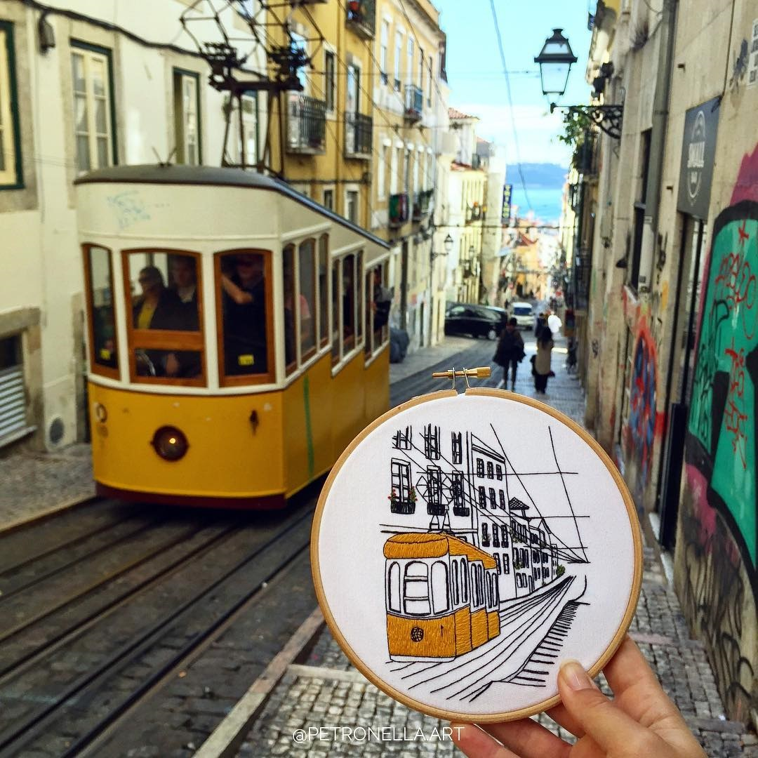 hand embroidery design of the Lisbon tram