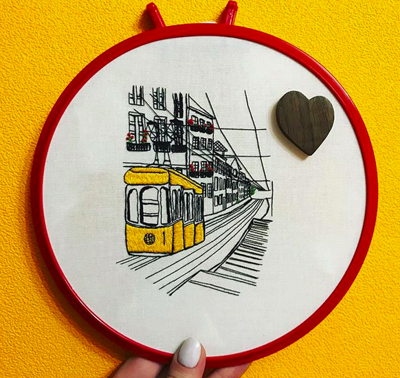 Student work on Libson tram embroidery pattern by Charles and Elin