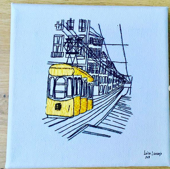 Student work on Lisbon tram embroidery pattern by Charles and Elin