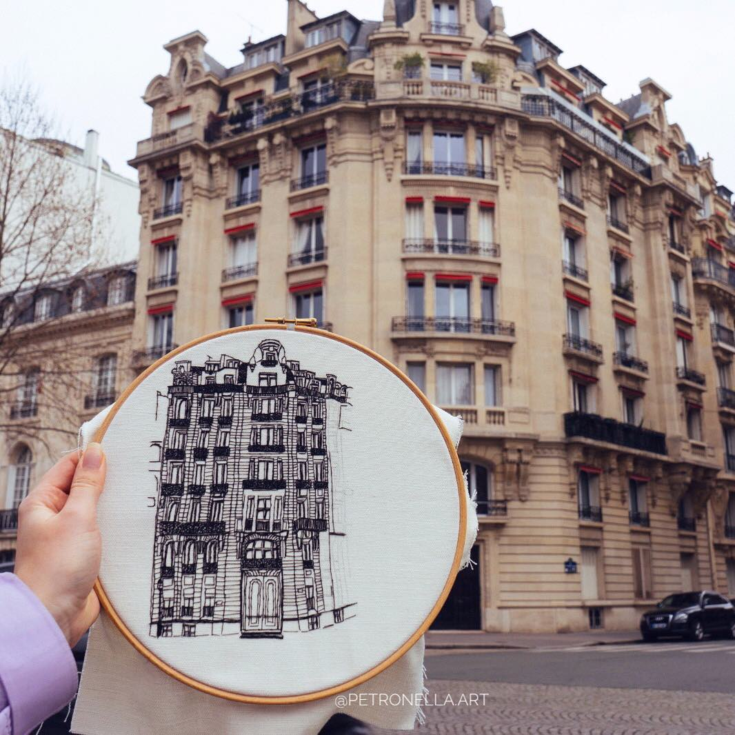 Architectural hand embroidery by Elin Petronella