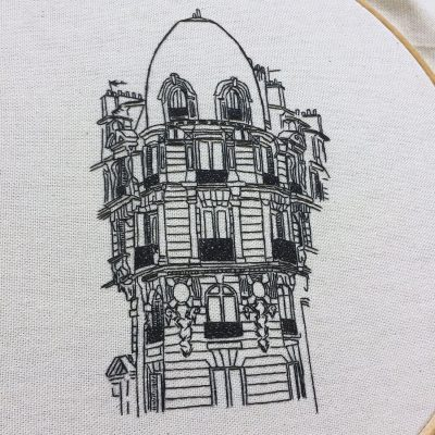 Advanced Embroidery pattern of Paris architecture