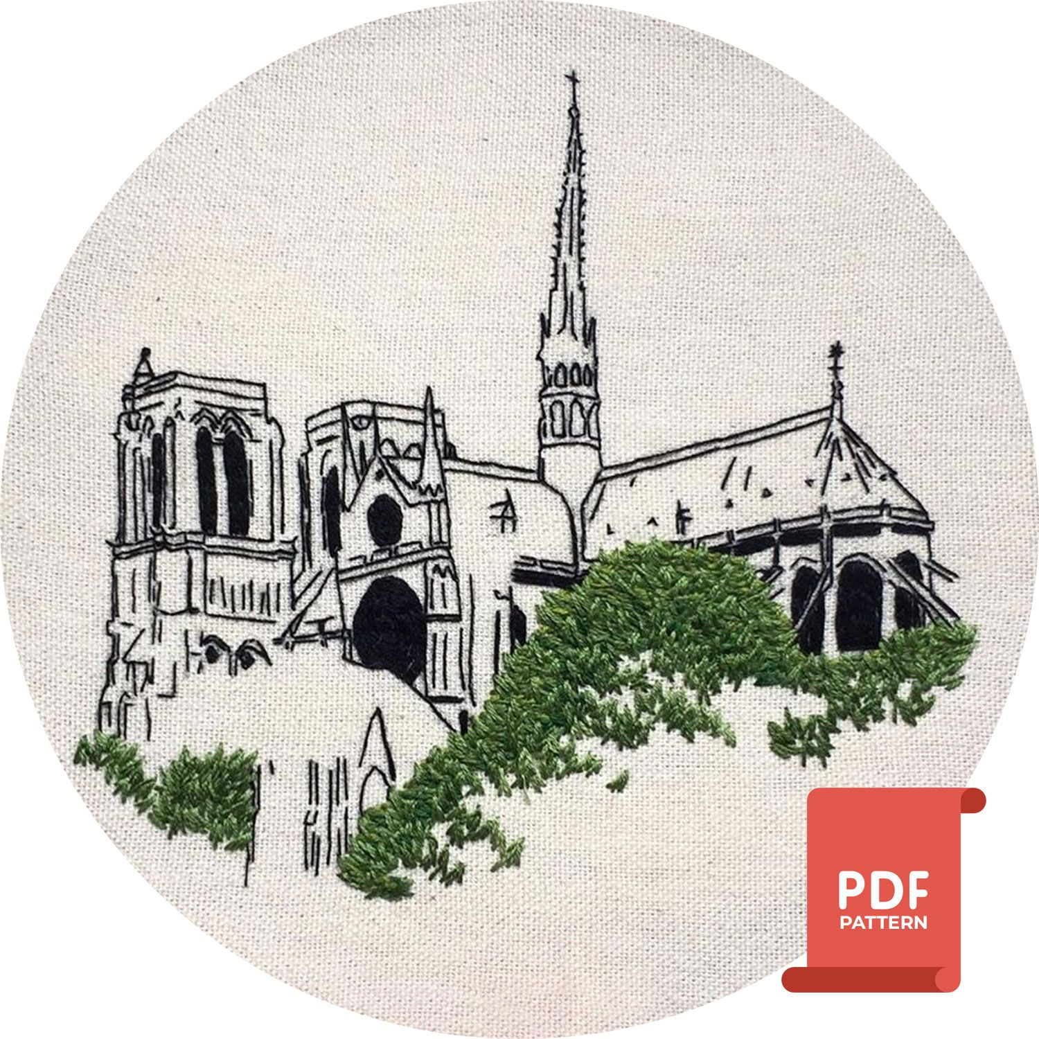 Notre Dame embroidery design
