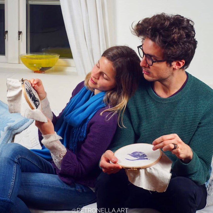 Artist couple teach each other embroidery