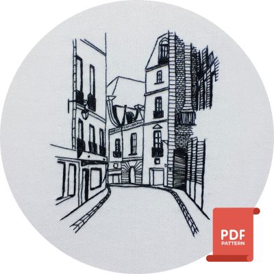 Modern hand embroidery design of Rue d'Aboukir in Paris