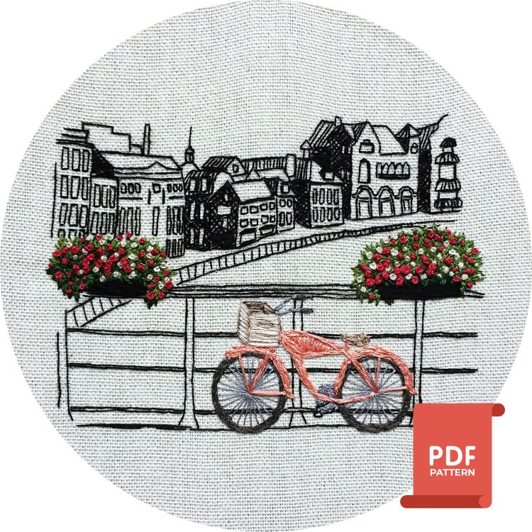 Amsterdam embroidery design for hand embroidery enthusiasts