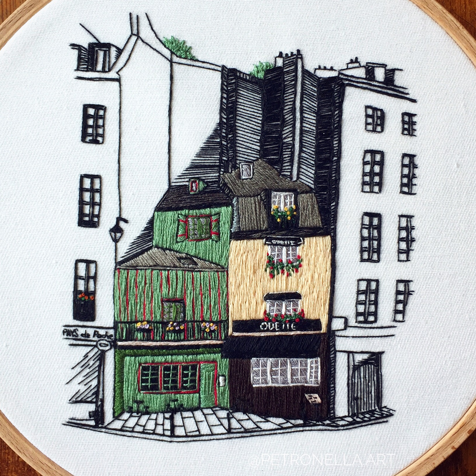 Architectural hand embroidery design of Rue Galande in Paris
