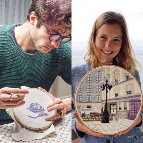Charles and Elin showing their different embroideries