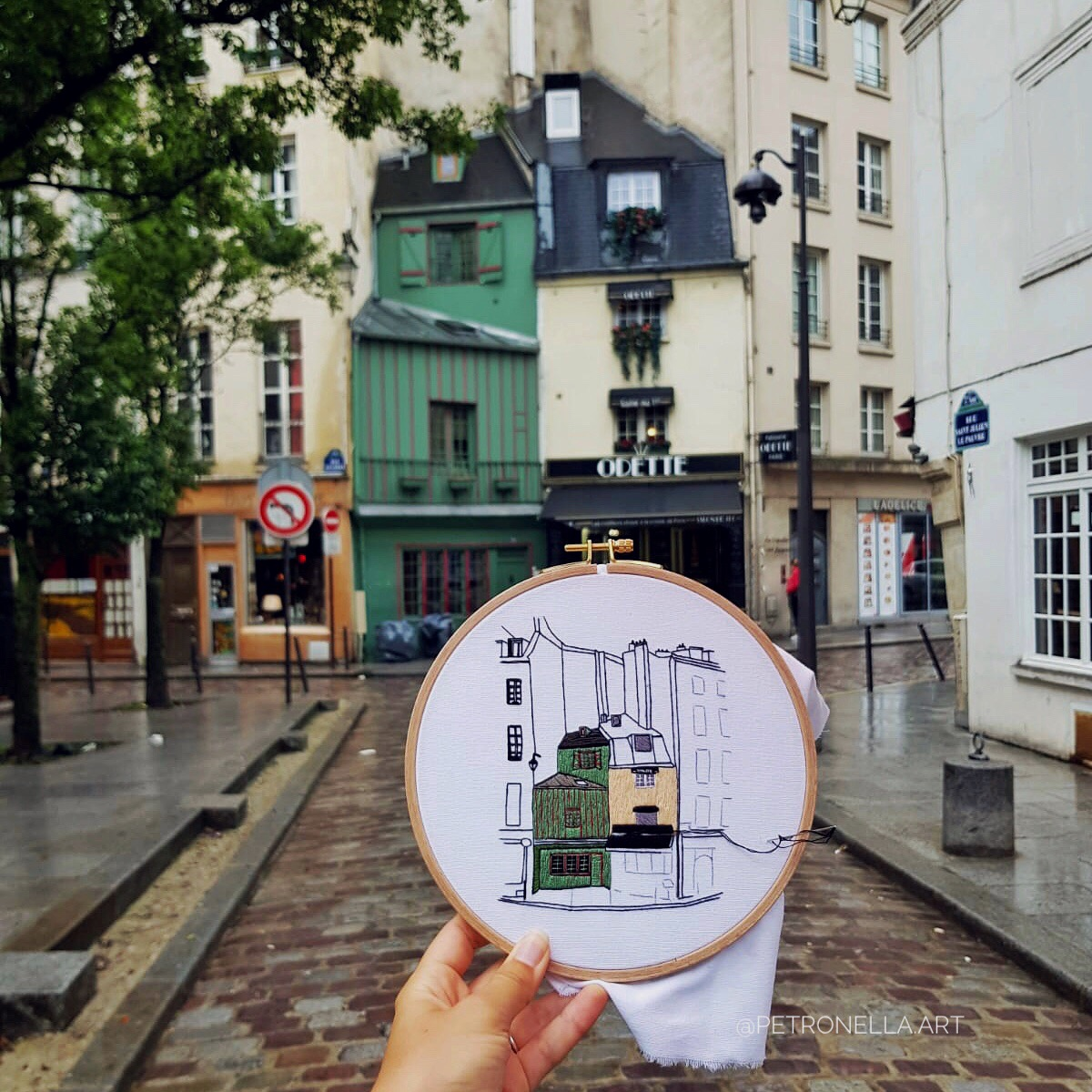 How to embroider free hand embroidery pattern of Paris