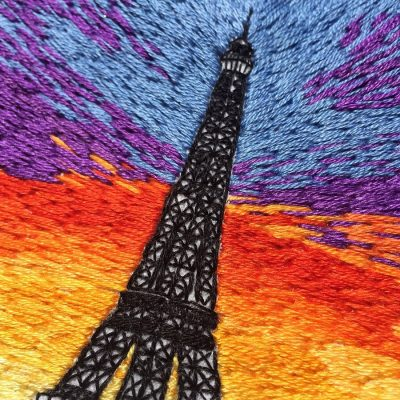 Hand embrodered eiffel tower design