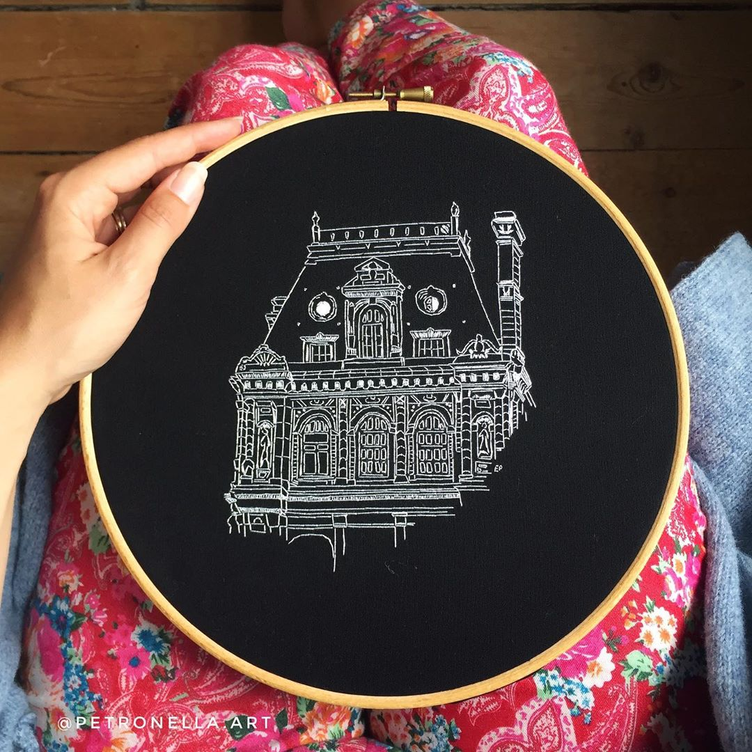 modern hand embroidery on black