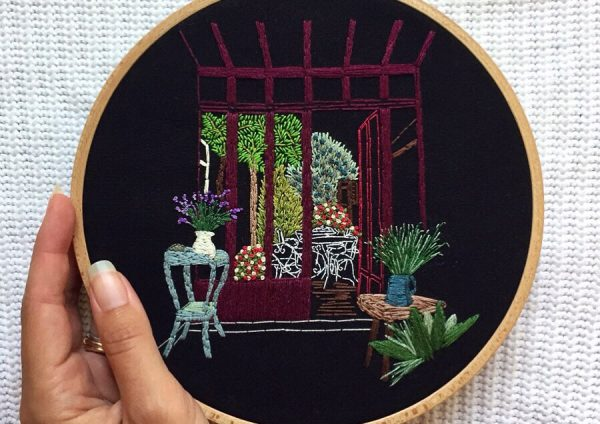 Parisian Courtyard embroidery design Charles and Elin