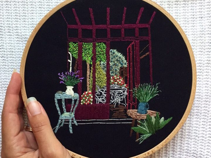 Embroidery on black