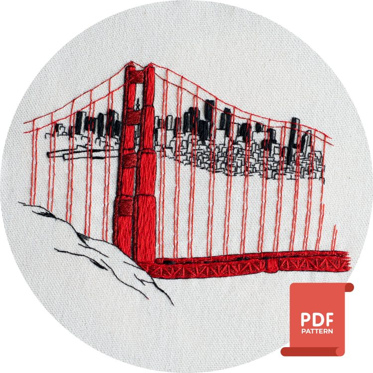 San-Francisco Golden-Gate-Bridge PDF Embroidery-Design