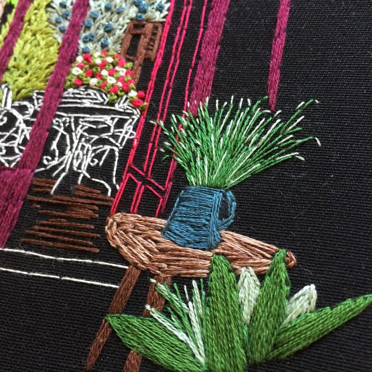 hand embroidery closeup