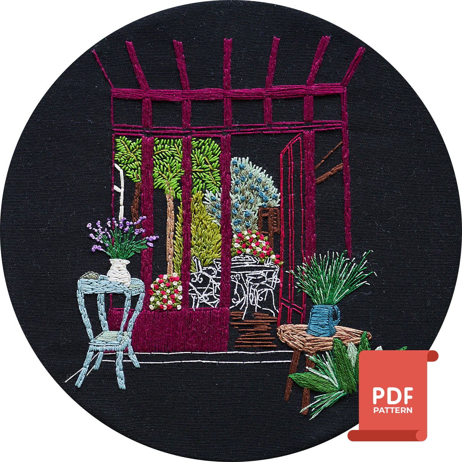 Embroidery design on black fabric