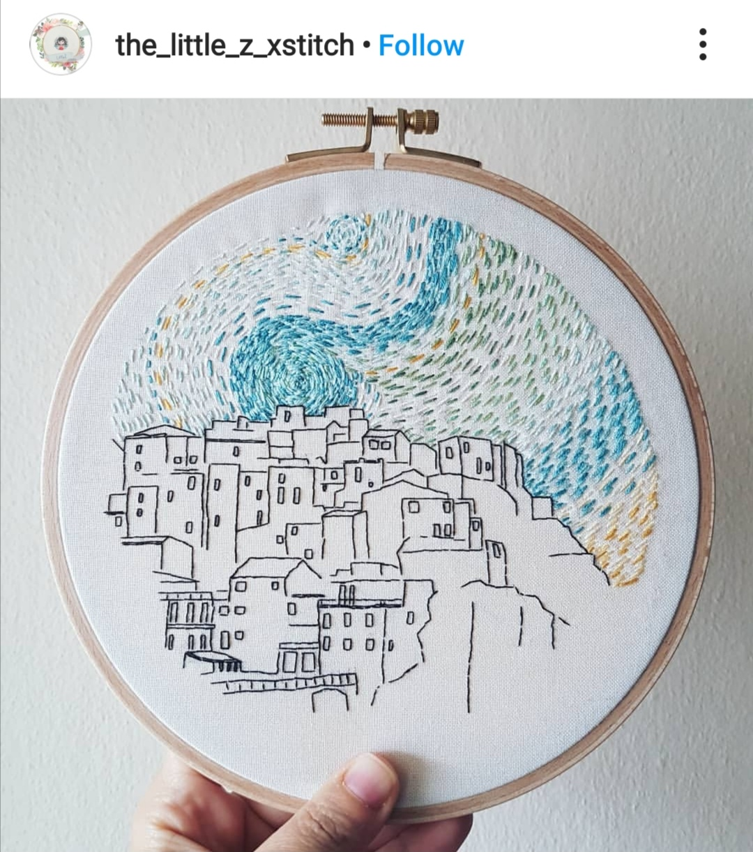 Embroidered Manarola pattern by student of Charles and Elin