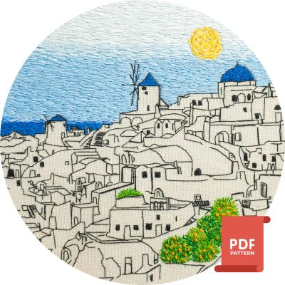 Santorini Embroidery Pattern Greece