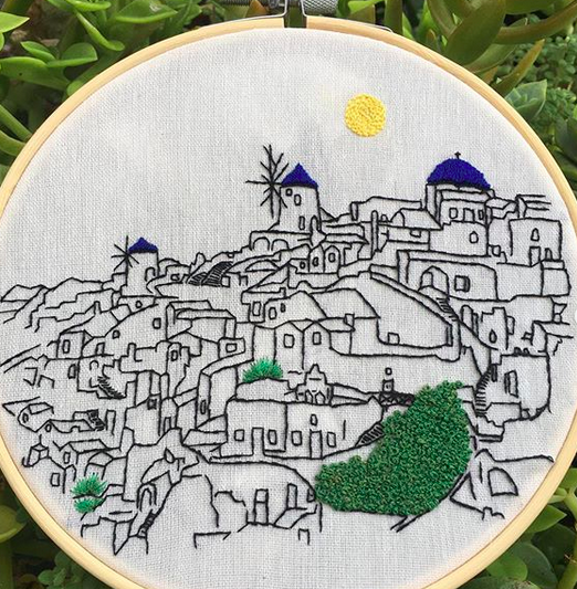 Student work on Santorini embroidery pattern by Charles and Elin