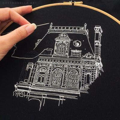 Modern embroidery of the City Hall of Paris