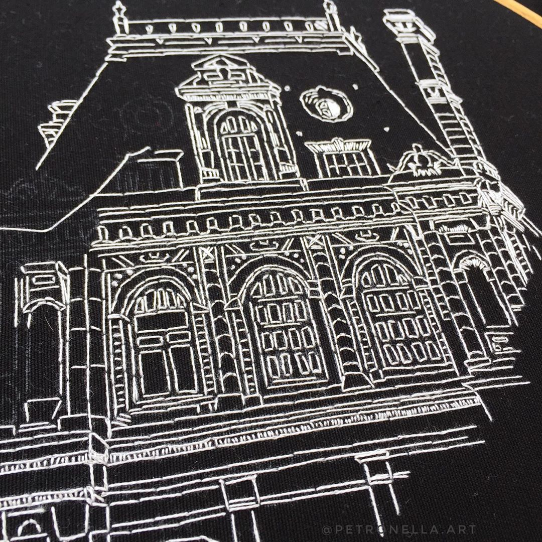 Embroidery in process of City Hall of Paris