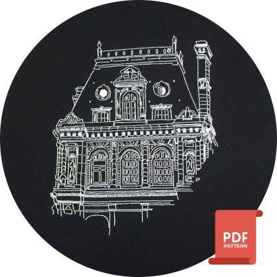 City Hall of Paris as modern embroidery pattern
