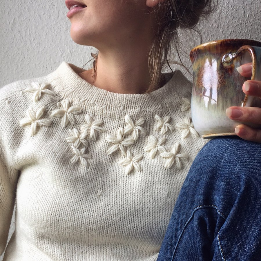 Hygge embroidery on knitting