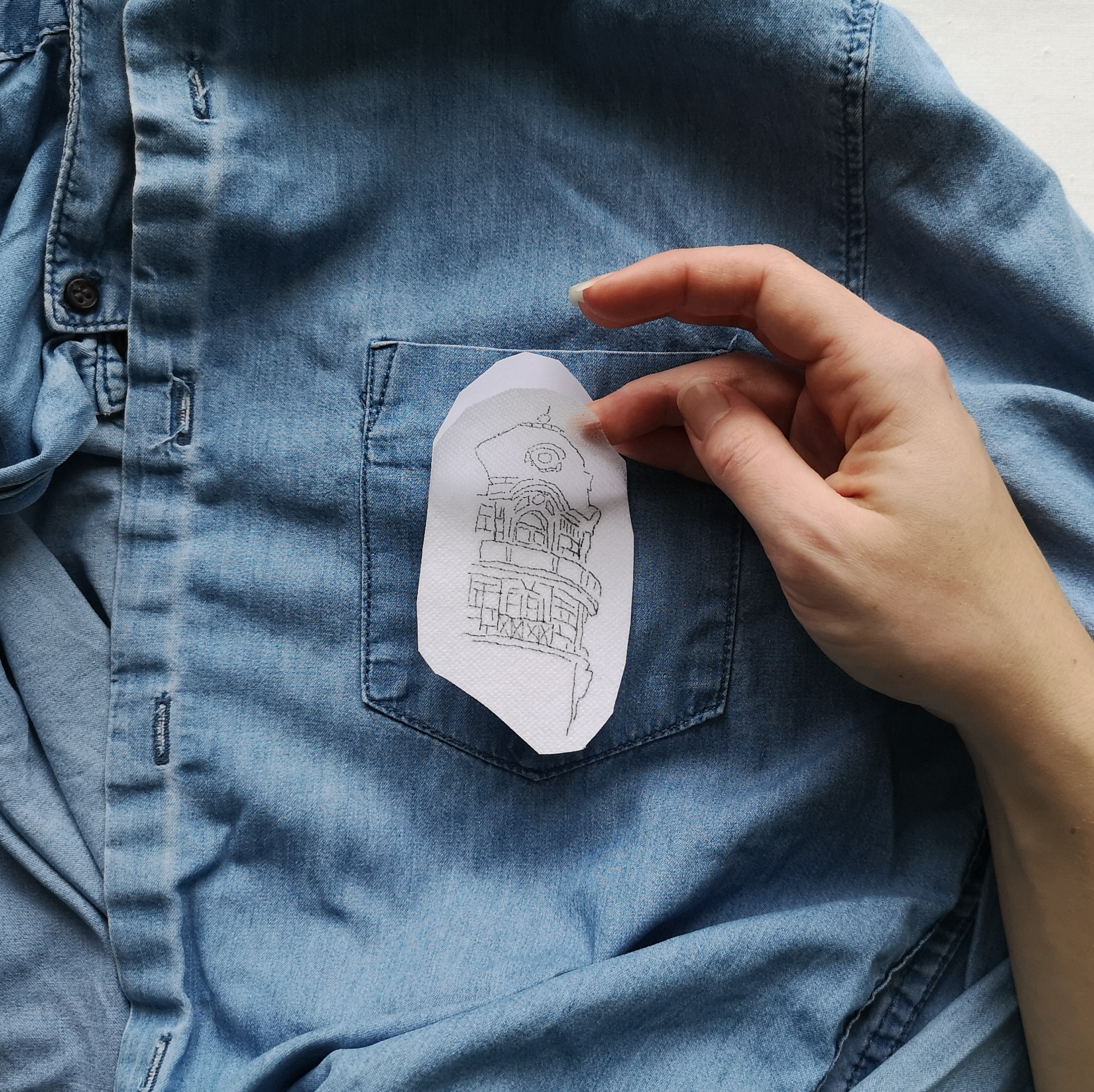 Attach solvy paper to upcycle your denim