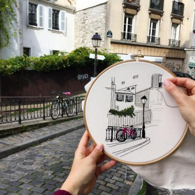 Embroidered street scene in Paris by Elin Petronella art