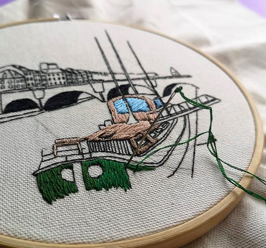 La Seine embroidery design by Charles and Elin - process shot