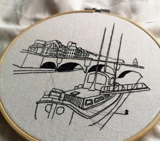 Hand embroidery in process by Charles and Elin