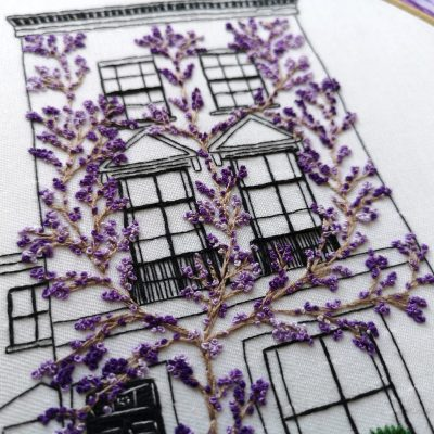 Architectural hand embroidery pattern of South Kensington