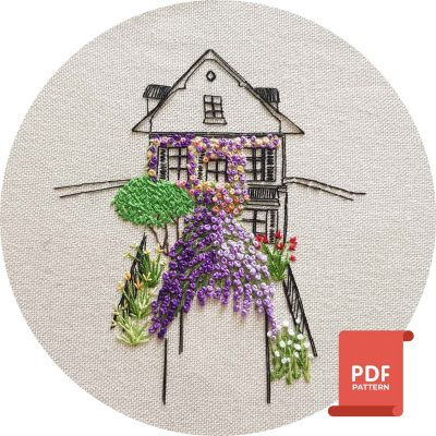 Embroidery Pattern Strasbourg Flower House