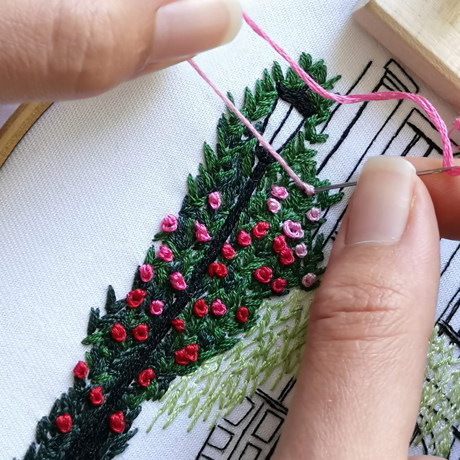 French knot process on Summer Dream House pattern