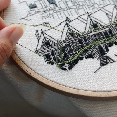San Francisco embroidery pattern closeup detail