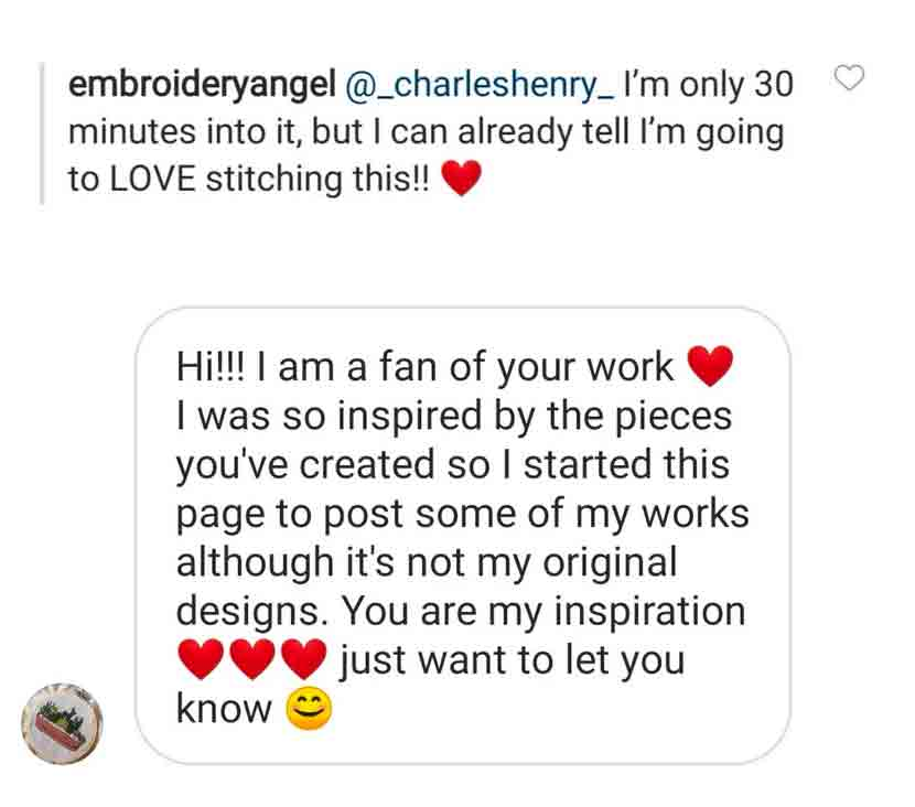 Testimonial Hand Embroidery Pattern Charles and Elin